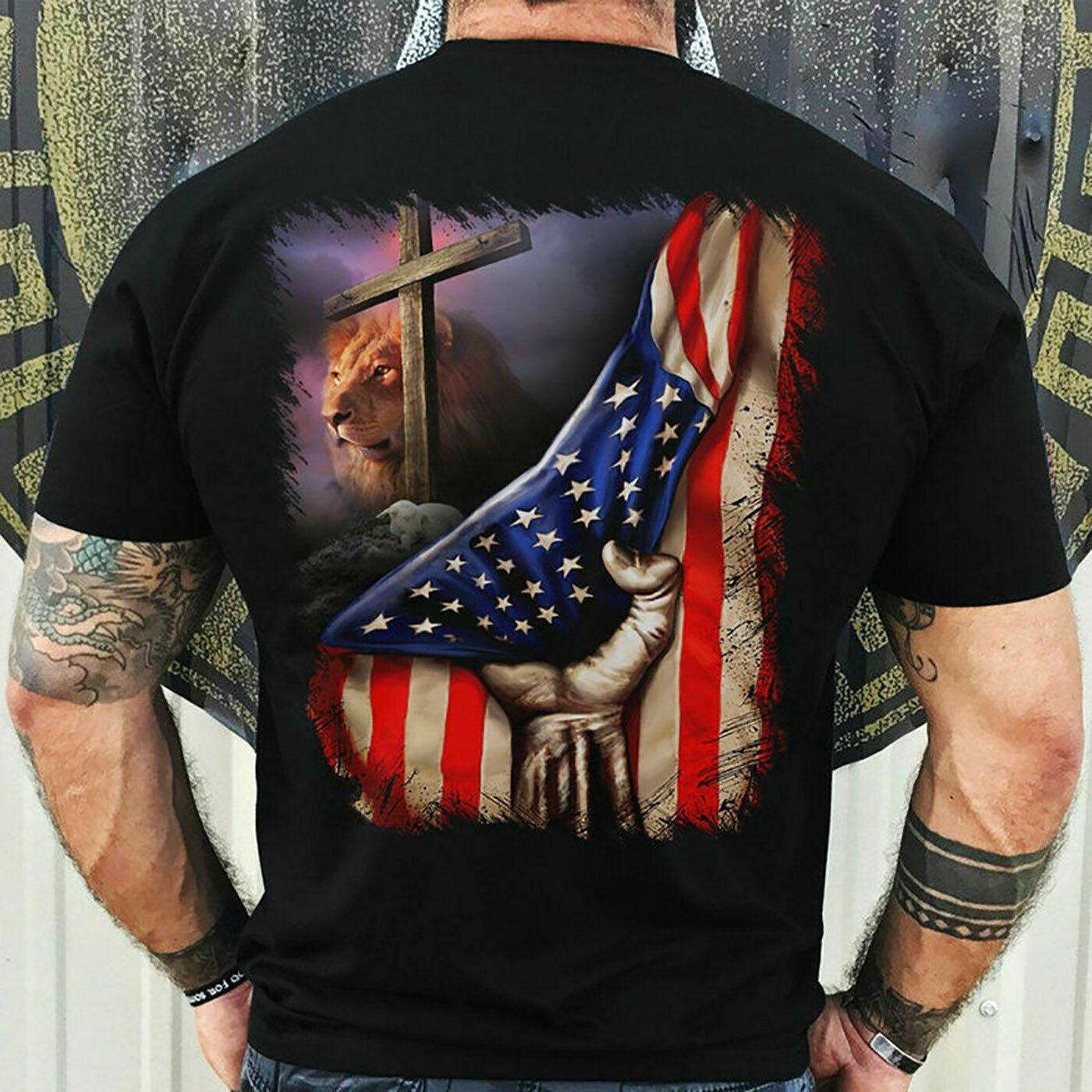 Jesus Veteran T-Shirt Backside Us Flag Lion Art Christian Cross Tee Gift Masswerks Store