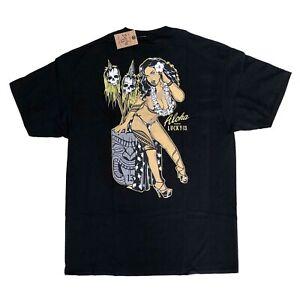 Lucky 13 Tiki Bar Rockabilly Punk 50s Pin Up Talavou Mens Black T Shirt Size XL