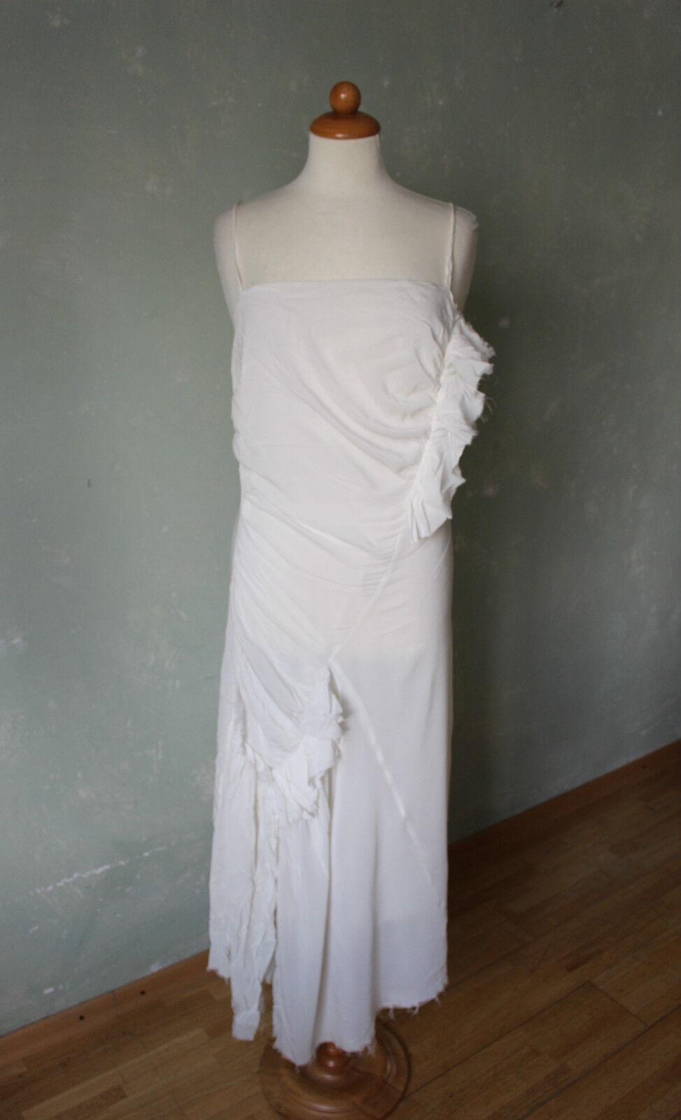 Kleid Hochzeitskleid Boho Ethno Weiss weiß Rüschen lang 36 S   38 M (IT44) (K15)
