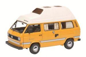 Schuco-VW-T3-Joker-Westfalia-Bus-d-039-accampamento-con-bianco-Tetto-alto-giallo-1