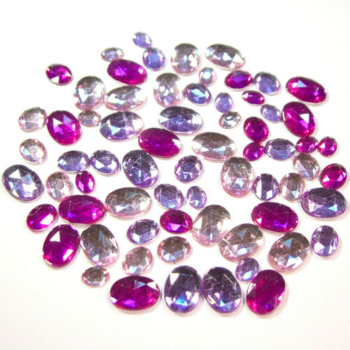 10x14mm rosa pink violett Acryl-Strass-Steine 70 Stück Oval 6x8 8x10
