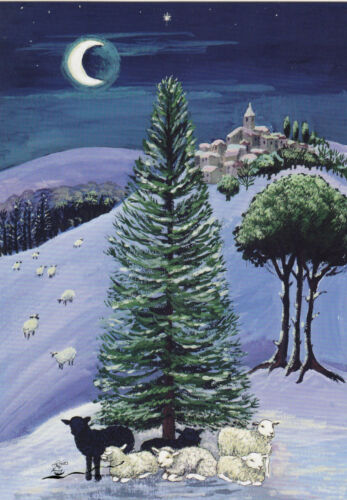 Schafe in einer Winterlandschaft Schnee Mond Postkarte Margaret Loxton