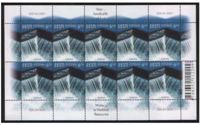 Estonia mint sheet - Europa CEPT 2001( Water - a natural resource)