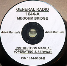 General Radio 1644 A Megohm Bridge Operating Amp Service Manual