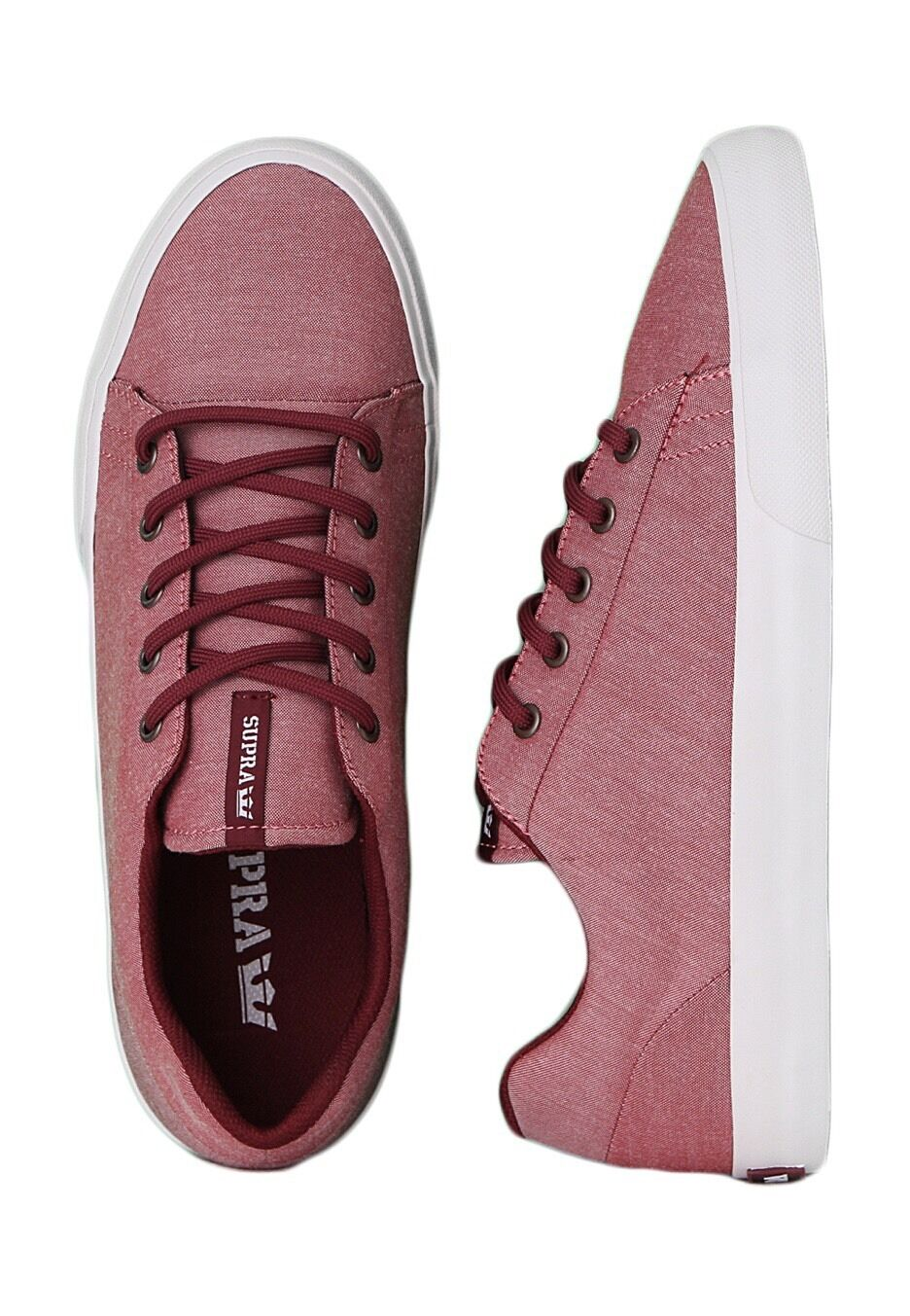 Supra Assault Burgundy White Men's shoes Low Sneakers Size 11