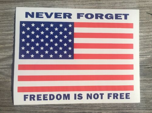 "Size 4""x5"" Freedom USA American Flag Decal Bumper Never Forget Sticker Qty 2."