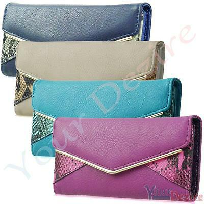 Ladies Faux Leather Bifod Long Coin Purse Womens Wallet Card Holder Bag