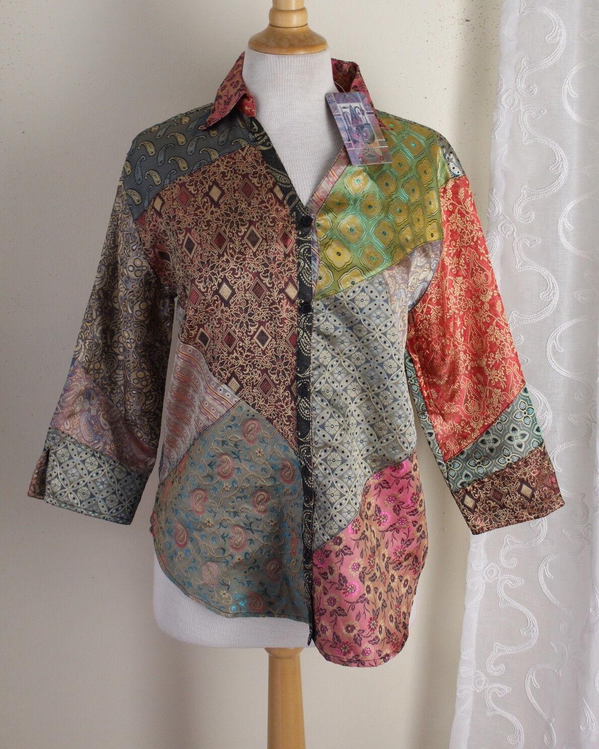 NWT Sacrot Threads Sz S Art-to-Wear Fun Boho Gypsy Paisley Patchwork Tunic Top