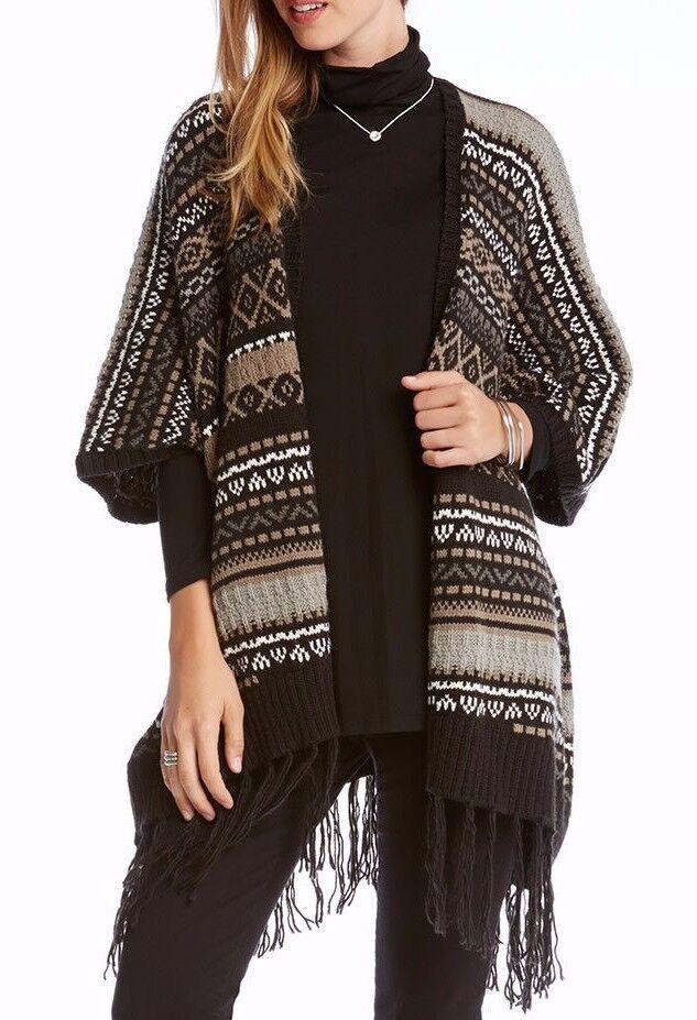 Karen Kane 3L89632 Brown-Multi Tribal Stripe Fringed Blanket Poncho Sweater  128