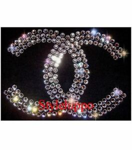 Chanel-Hotfix-Glitter-Iron-on-Transfer-Brand-Logo-Patch-CC-Rhinestone-Diamante