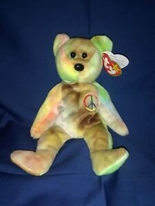 RARE TAGGED BEAR Ty Beanie Baby PEACE Bear Retired Teddy THE DYE ... e8560c3db837