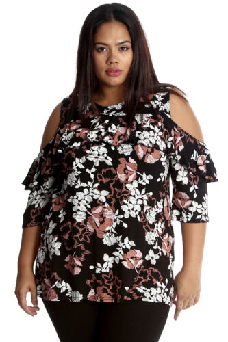 New Womens Top Plus Size Ladies Frill Neck Sleeves Floral Print Cold Shoulder