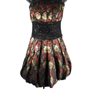 bebe-Black-Red-amp-Yellow-Floral-Lace-Sequins-Short-Formal-Puffy-A-Line-Dress-Med