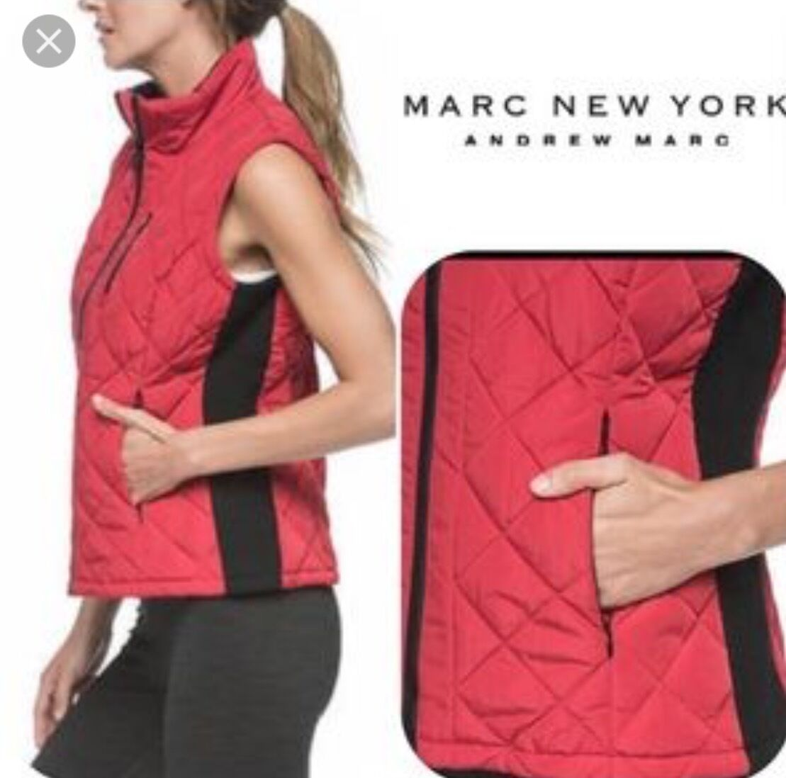 ..NWT ANDREW MARC Womens Crimson Red Quilted Winter Winter Winter Vest Sz XS a108b3
