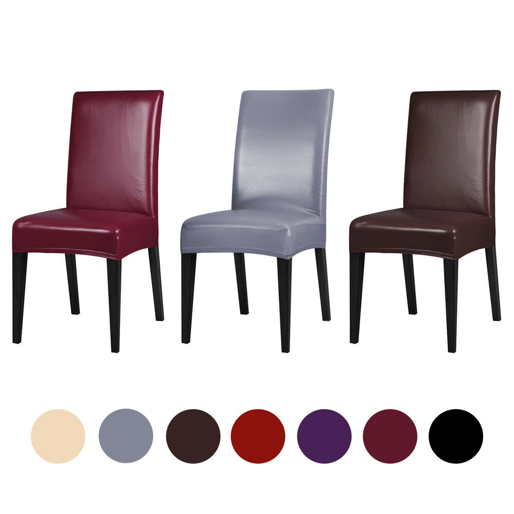 Waterproof PU Chair Cover Stretch Wedding Leather Party Dining Seat Slipcover US
