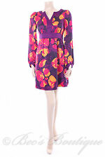 New Size 10 Papaya Purple Bold Floral Retro Dress Summer Satin Tunic