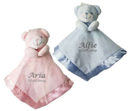 Personalised Embroidered Teddy comforter Blankie Comfort Blanket Baby Gift Satin