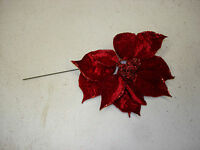 Christmas Picks Floral 8 Pc 10 Poins Red Wholesale Lot Bulk Crafts Decorations