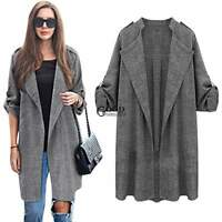 New Women's Double Breasted Loose Long Trench Cardigan Coat Jacket Outerwear TXG