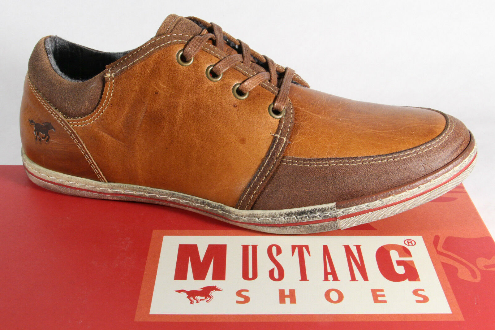 Mustang Herren Schnürschuhe Sneaker Halbschuhe braun, Leder NEU