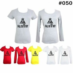 Fall-Out-Boy-FOB-Desig-Women-039-s-Girl-039-s-T-Shirt-Casual-Cotton-Graphic-Tee-Tops