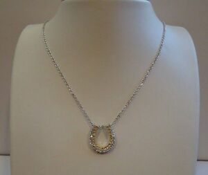 925-STERLING-SILVER-DESIGNERS-034-HORSE-SHOE-034-034-NECKLACE-PENDANT-W-1-CT-DIAMOND