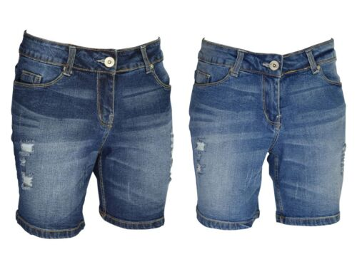 Ladies SKINNY ELASTICO Denim Shorts Boyfriend metà Pantaloni Strappato Jeans Hot Pants
