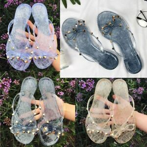 Women-Ring-Toe-Flip-Flop-Studded-Rivet-Jelly-Slippers-Sandals-Beach-Thong-Shoes