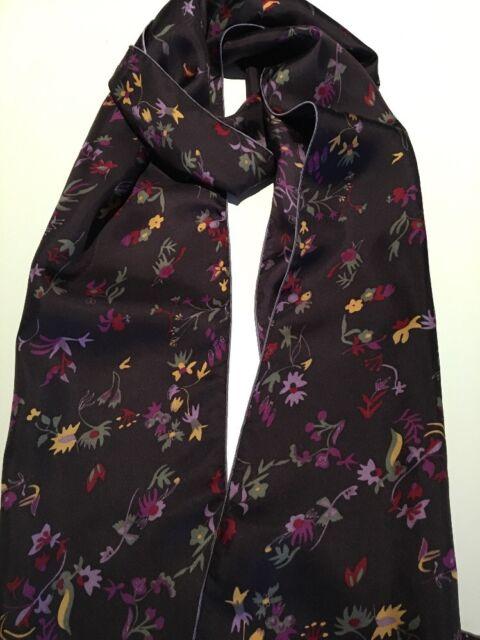 100% Mulberry Silk Twill Skinny Scarf Aubergine Flowers 🇦🇺 Crafted 26x178cm
