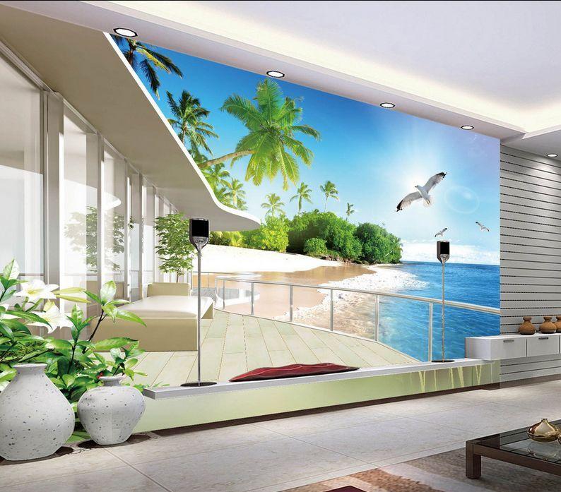 3D Plage Balcon 65 Photo Papier Peint en Autocollant Murale Plafond Chambre Art