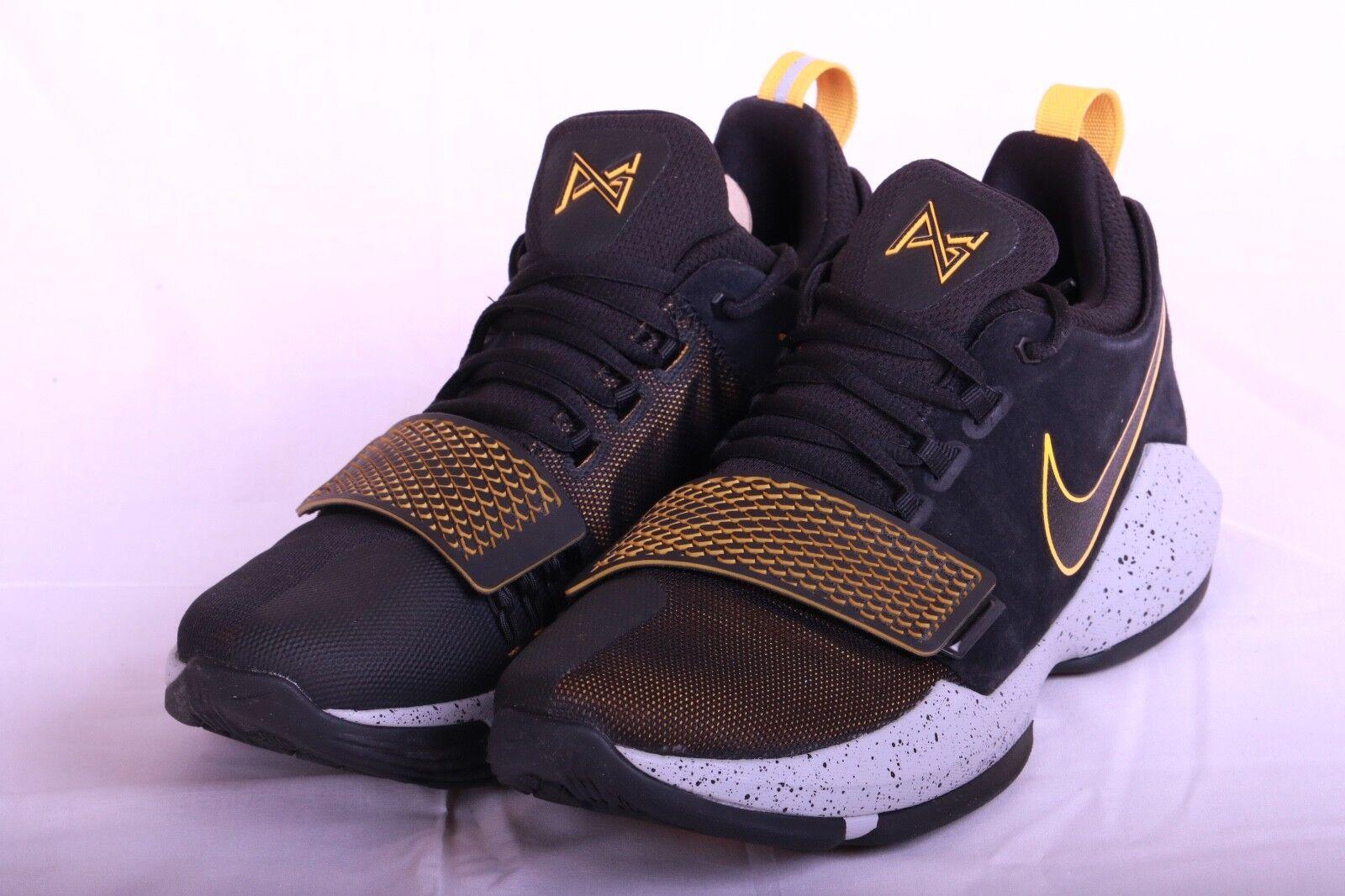 b729463cfe Nike PG 1 Mens Black Grey University gold Basketball shoes 878627 006 Size  7.5