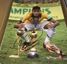 Neymar da Silva Santos Brazilian Soccer Star Signed 11x14 Photo Proof COA Look
