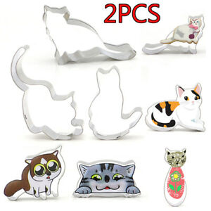 2-Pcs-Cat-Cookie-Cutters-Biscuit-Mold-Cake-Mould-Baking-amp-Pastry-Tool-Bakeware