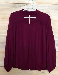 Womens-ENTRO-Purple-Plum-Long-Balloon-Sleeve-Shirt-Blouse-Sz-Large-Front-Cutout