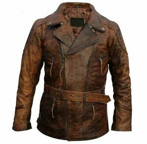 Real Distressed Lambskin Leather Jackets for Men Brown Leather Jacket Men
