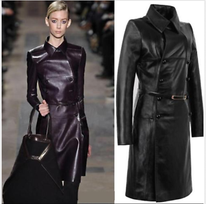 Womens-Double-breasted-Leather-Belt-Trench-Coat-Slim-Jacket-Long-Parkas-Outwear