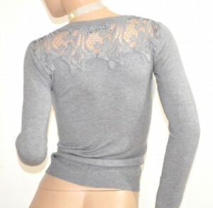 PULL-GRIS-femme-cardigan-manches-longues-chandail-broderie-maillot-pullover-F115