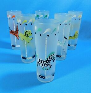 Vtg-Libbey-CIRCUS-CAROUSEL-MERRY-GO-ROUND-Frosted-Glasses-Set-of-6
