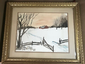 Susan-Schierenbeck-034-Winter-Landscape-Scene-034-Watercolor-Painting-Signed-Framed