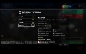 Destiny 2 MASTER 1080 100k NIGHTFALL PS4//PC//XBOX!