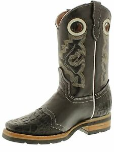 a19265a0326 Details about Kid's Boys New Leather Crocodile Durable Cowboy Western Boots  Square Toe Black