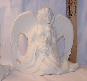 """Kneeling Ceramic Angel with Lilies, 6"""" tall, Provincial, 1994, for acrylic paint"""
