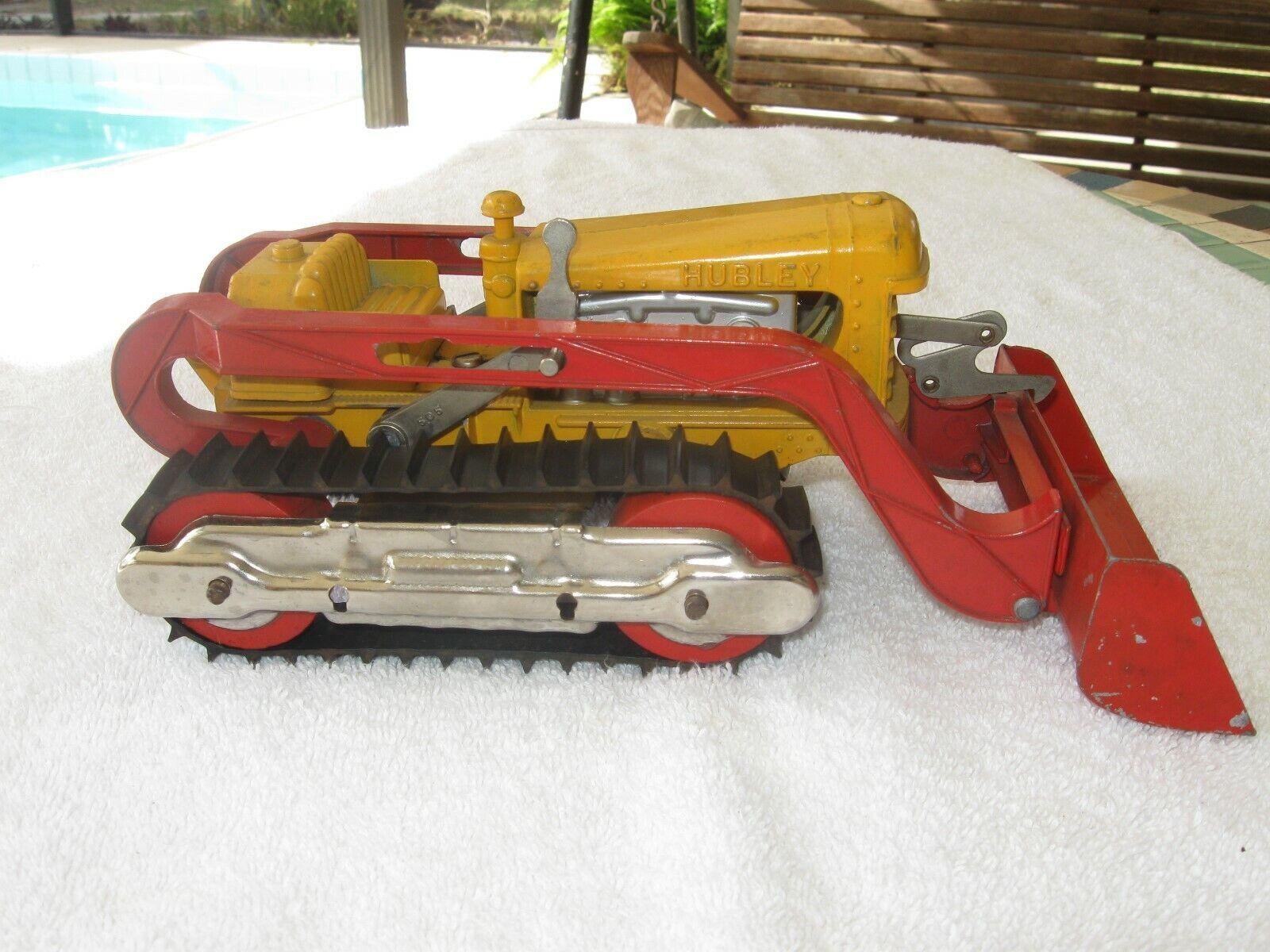 Vintage Hubley Die Cast, diesel Tractor De Oruga Cargador Frontal