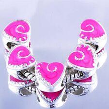 5pcs Pink Enamel Silver heart Charms Beads Fit European DIY Bracelet Lot