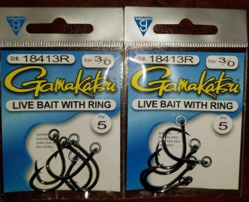 2 Gamakatsu 3//0 Ringed Live Bait Hooks 18413R 2 Pack Great Price Free Shipping