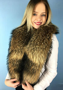 b2a4d3ad2064f Details about Natural Raccoon Fur Collar 50' (130cm) Natural Fur Color  Stole Saga Furs Brown