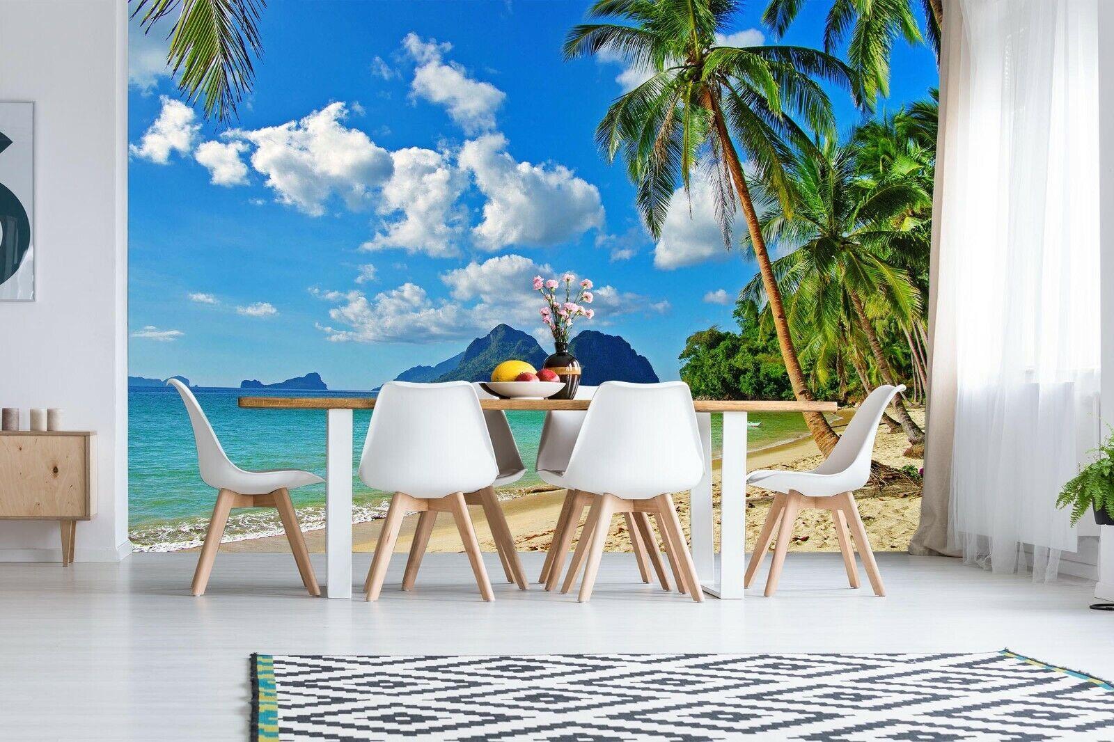 3D Sea Beach Coconut Tree R868 Wallpaper Wall Mural Self-adhesive Commerce Amy
