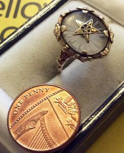 Unusual-Ladies-Early-Solid-10ct-Gold-American-Masonic-Ring