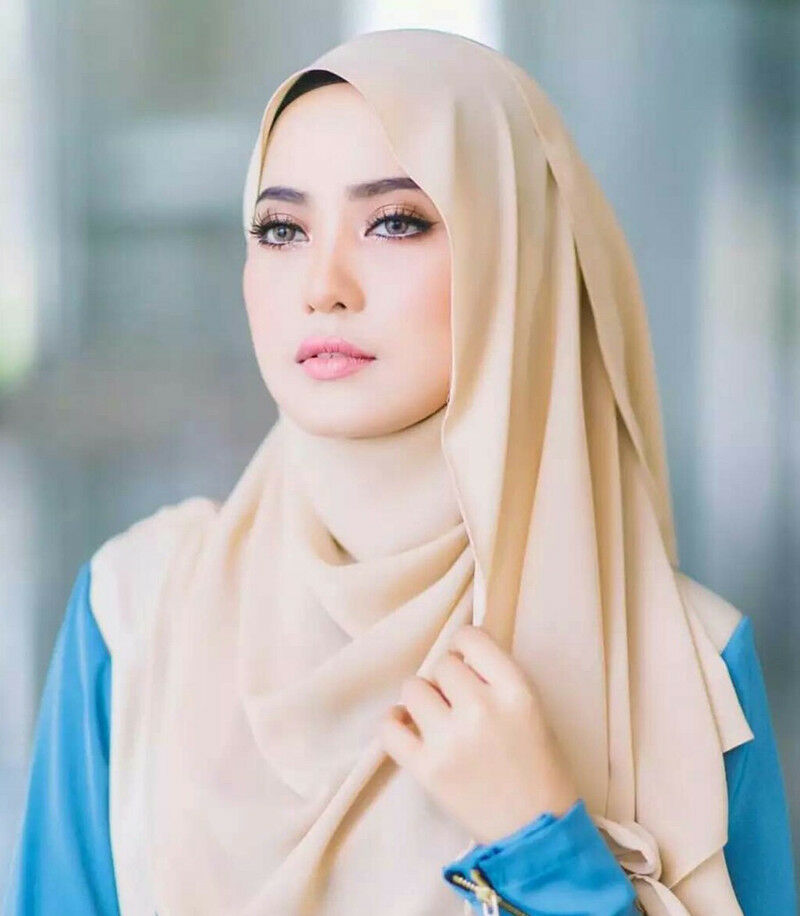 Womens Plain Bubble Chiffon Hijab islamische muslimische Turban-Schal-Tücher De