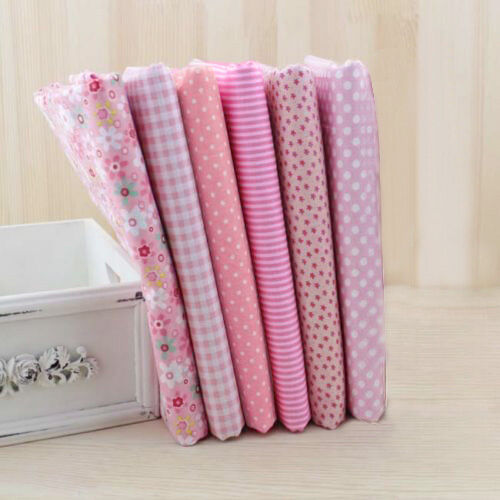 "Pink Series 6 Assorted Pre-Cut Charm Cotton Quilt Fabric 19.7"" Fat SaleQuarters"